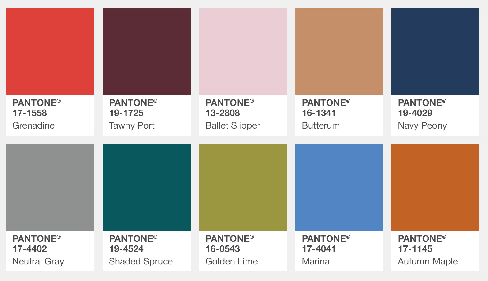 Pantone Fall 2017 Colour Trend Report