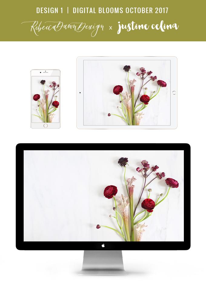 Digital Blooms October 2017 | Free Desktop Wallpapers | Design 1 // JustineCelina.com x Rebecca Dawn Design