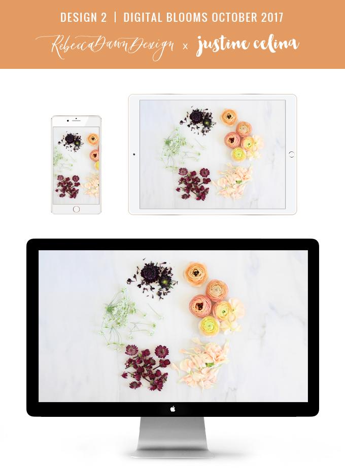 Digital Blooms October 2017 | Free Desktop Wallpapers | Design 2 // JustineCelina.com x Rebecca Dawn Design