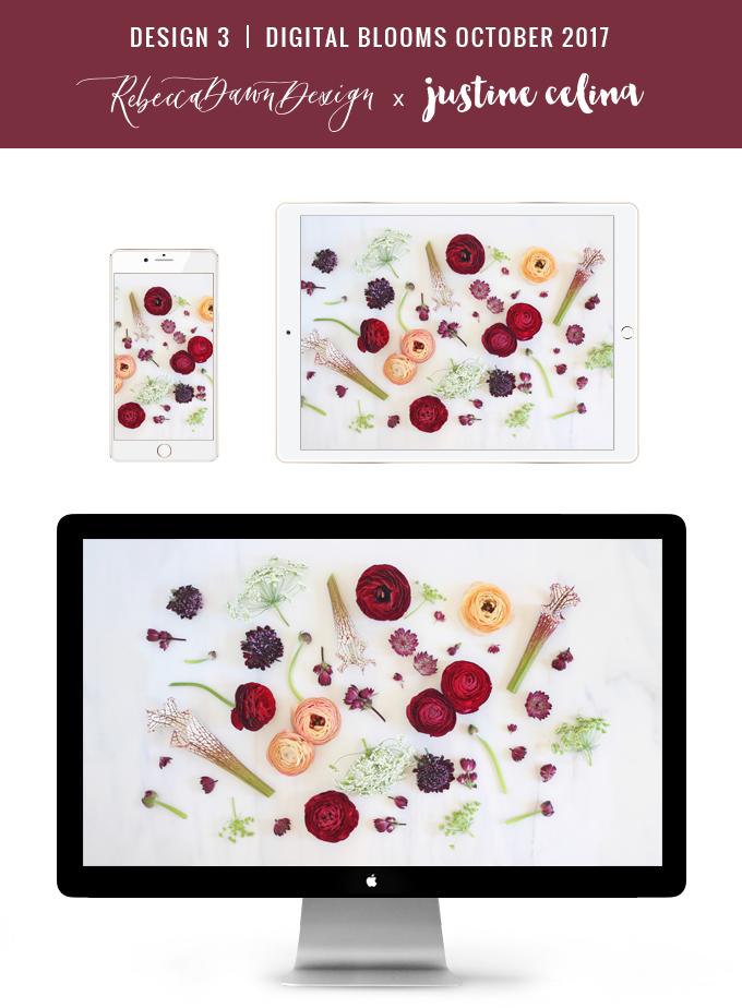Digital Blooms October 2017 | Free Desktop Wallpapers | Design 3 // JustineCelina.com x Rebecca Dawn Design