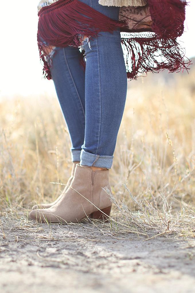 How to Style | Kimonos for Autumn | Aldo Larissa Boots in Bone Suede // JustineCelina.com