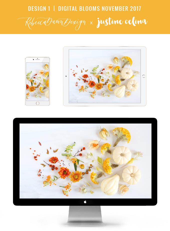 Digital Blooms November 2017 | Free Desktop Wallpapers | Design 3 // JustineCelina.com x Rebecca Dawn Design