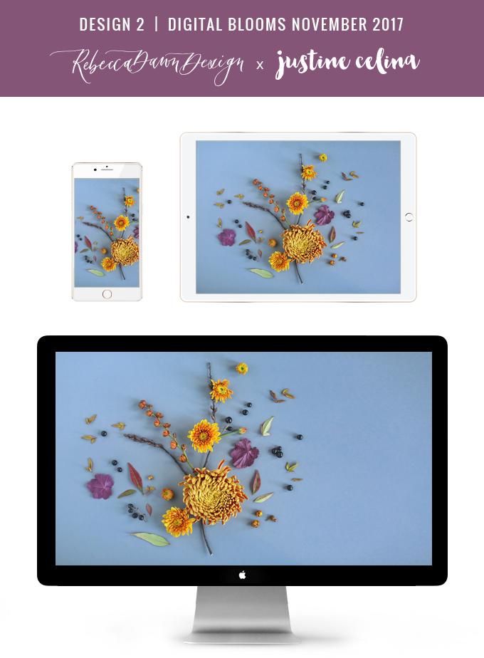 Digital Blooms November 2017   Free Desktop Wallpapers   Design 2 // JustineCelina.com x Rebecca Dawn Design