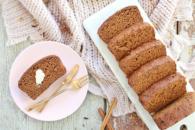 Gluten Free Spiced Sweet Potato Bread   #GlutenFree #DairyFree #RefinedSugarFree #OilFree // JustineCelina.com