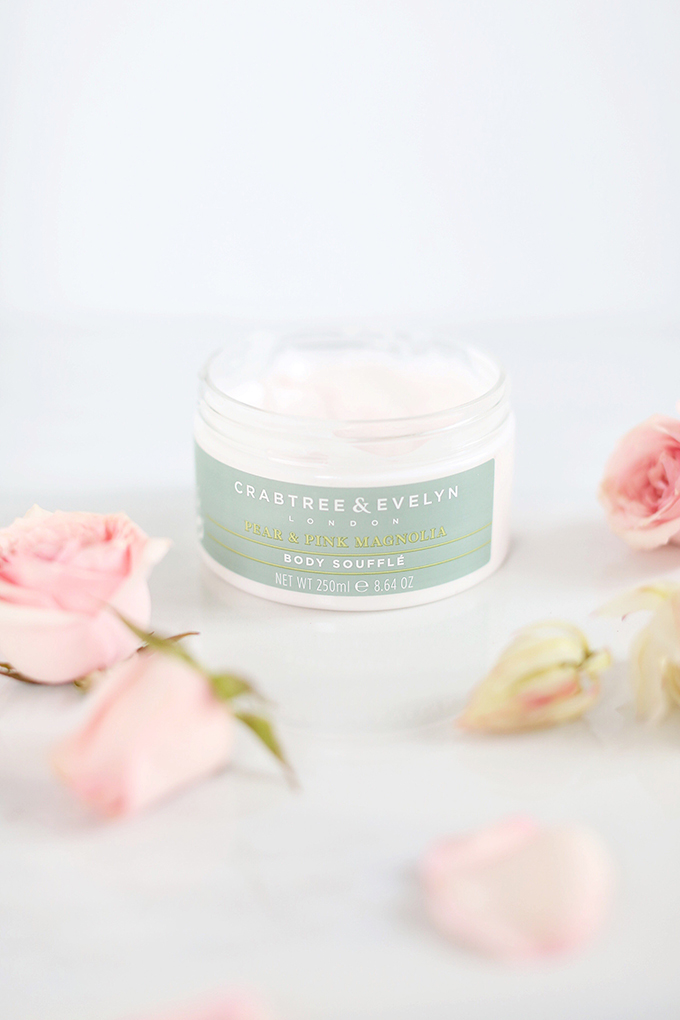 Crabtree & Eveyln Pear and Pink Magnolia Uplifting Body Soufflé Photos, Review | October 2017 Beauty Favourites // JustineCelina.com