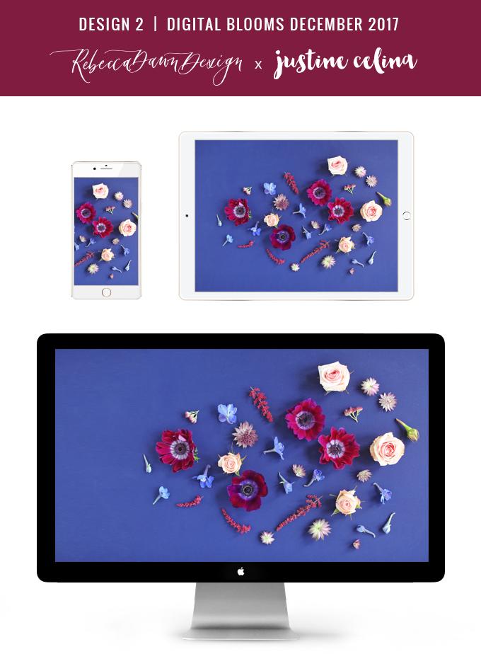 Digital Blooms December 2017 | Free Desktop Wallpapers | Design 2 // JustineCelina.com x Rebecca Dawn Design