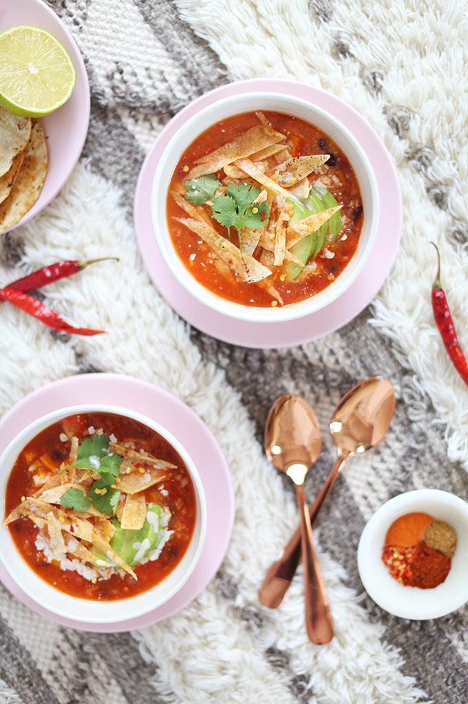Vegan Slow Cooker Tortilla Soup with Winter Squash // JustineCelina.com