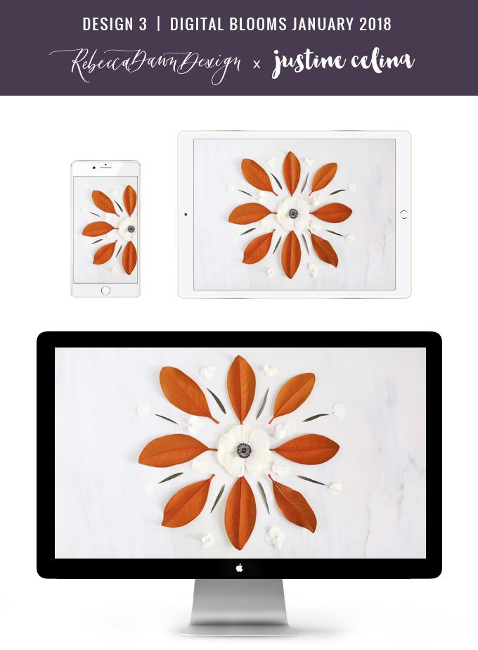 Digital Blooms December 2017   Free Desktop Wallpapers   Design 1 // JustineCelina.com x Rebecca Dawn Design