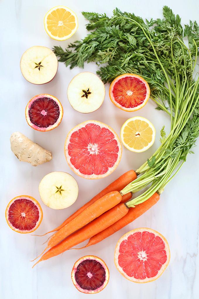 Citrus Season Elixir | The Best Fresh Pressed Citrus Juice | Ruby Red Grapefruit, Blood Oranges, Lemons, Apples, Carrots and Ginger // JustineCelina.com