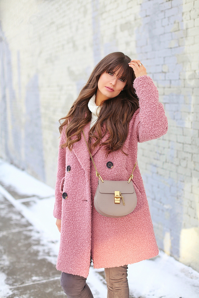 Blush Crush   How to Style Millennial Pink & Blush Hues   Winter / Spring 2018   Topshop Alicia Boucle Wool Blend Coat Pink   Best Chloe Drew Bag Dupes for Under $50 // JustineCelina.com