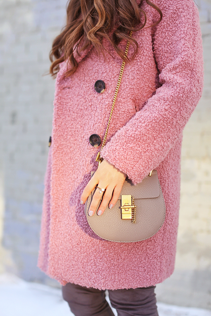 Blush Crush   How to Style Millennial Pink & Blush Hues   Best Chloe Drew Bag Dupes for Under $50   Winter / Spring 2018   Topshop Alicia Boucle Wool Blend Coat Pink // JustineCelina.com