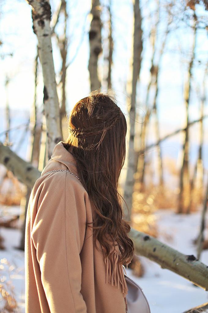 How to Style   Midi Dresses for Winter 2018   Boho Braided Hairstyle   Calgary Fashion Blogger, Wheatland County, Alberta Badlands // JustineCelina.com
