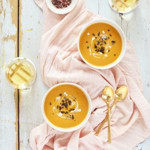 Truffled Butternut Squash Soup with Crispy Sage | Sofritto Calgary White Truffle Oil | #vegan #glutenfree #dairyfree // JustineCelina.com