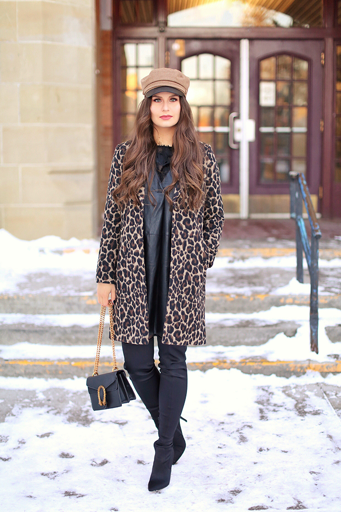 Pattern Play   Leopard Print   Winter to Spring 2018 Transitional Fashion Ideas   Calgary, Alberta Fashion Blogger   Canadian Fashion Blogger   Best Gucci Dionysus Dupe Under $50 // JustineCelina.com