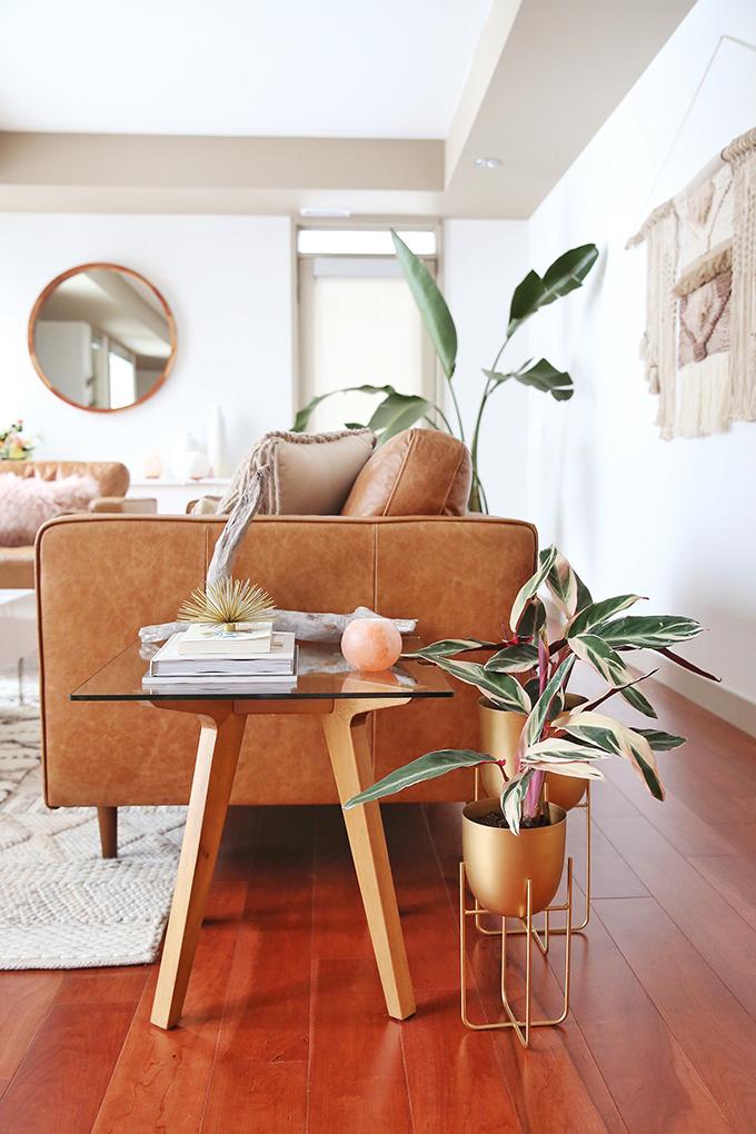 Living Room Reveal in Partnership with HomeSense Canada | A Bohemian, Mid Century Modern Apartment in Calgary, Alberta, Canada // JustineCelina.com