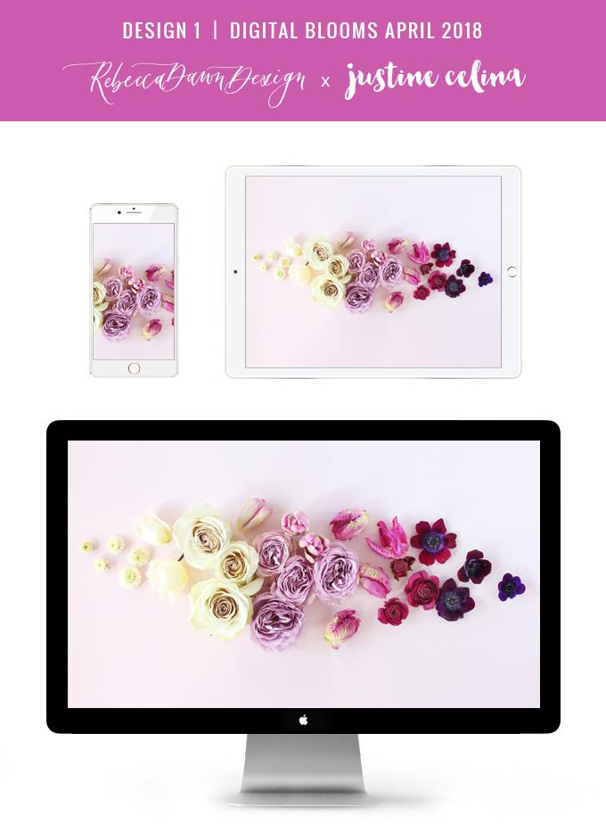 Digital Blooms March 2018 | Free Pantone Inspired Desktop Wallpapers for Spring | Free Ombre Lavender Floral Tech Wallpapers | Design 1 // JustineCelina.com x Rebecca Dawn Design