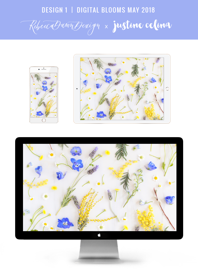 Digital Blooms May 2018 | Free Pantone Inspired Desktop Wallpapers for Spring | Free Pastel Floral Tech Wallpapers | Design 1 // JustineCelina.com x Rebecca Dawn Design