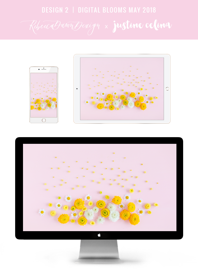 Digital Blooms May 2018 | Free Pantone Inspired Desktop Wallpapers for Spring | Free Pastel Tech Wallpapers | Design 2 // JustineCelina.com x Rebecca Dawn Design