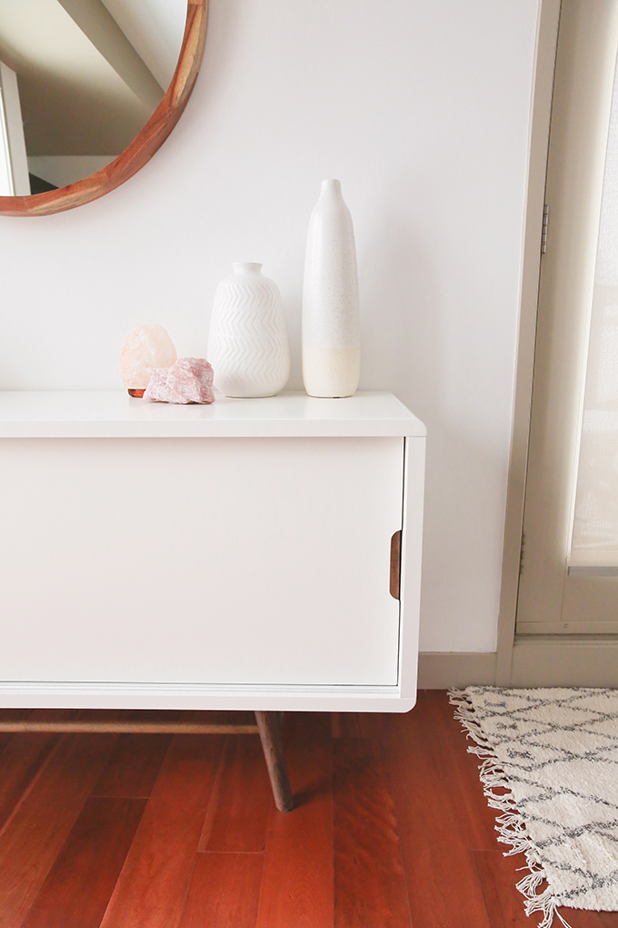 Our Living Room Furniture + $250 Structube #Giveaway | Structube Ocean 2 Door Sideboard | A Bohemian, Mid Century Modern Apartment in Calgary, Alberta, Canada | Justine Celina Maguire Living Room // JustineCelina.com