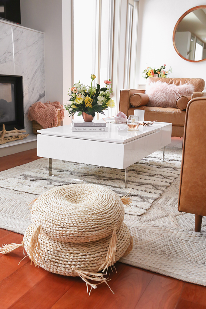 Our Living Room Furniture + $250 Structube #Giveaway | Structube VAKA Floor Cushions | A Bohemian, Mid Century Modern Apartment in Calgary, Alberta, Canada | Justine Celina Maguire Living Room // JustineCelina.com
