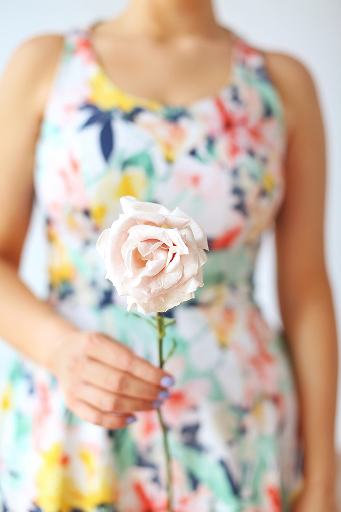 My 3rd Blogiversary + 10 Things I Learned in my Third Year of Blogging   Holding A Single Quicksand Rose + A Spring Dress   A Pantone Spring 2018 Inspired Birthday Celebration // JustineCelina.com