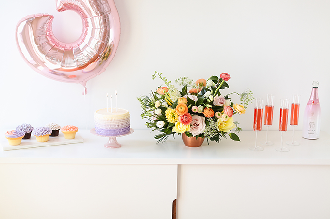 My 3rd Blogiversary + 10 Things I Learned in my Third Year of Blogging   Lavender Ombre Ruffle Cake + Sparkling Rosé Wine in Modern Champagne Flutes   A Pantone Spring 2018 Inspired Birthday Celebration // JustineCelina.com