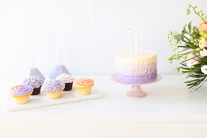 My 3rd Blogiversary + 10 Things I Learned in my Third Year of Blogging   Lavender and Blush Garden Cupcakes & Lavender Ombre Ruffle Cake   A Pantone Spring 2018 Inspired Birthday Celebration // JustineCelina.com