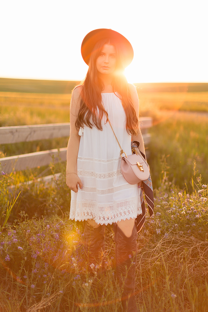 What to Wear to | The Calgary Stampede, Part II | In Partnership with Saks OFF 5TH | Alice + Olivia White Boho Dress // JustineCelina.com