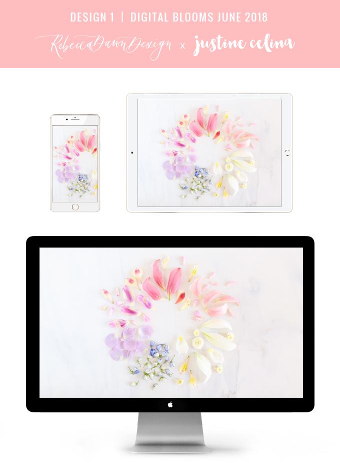 Digital Blooms June 2018 | Free Pantone Inspired Desktop Wallpapers for Spring and Summer | Free Pastel Tech Wallpapers | Design 1 // JustineCelina.com x Rebecca Dawn Design