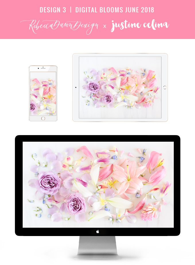 Digital Blooms June 2018 | Free Pantone Inspired Desktop Wallpapers for Spring and Summer | Free Pastel Tech Wallpapers | Design 3 // JustineCelina.com x Rebecca Dawn Design