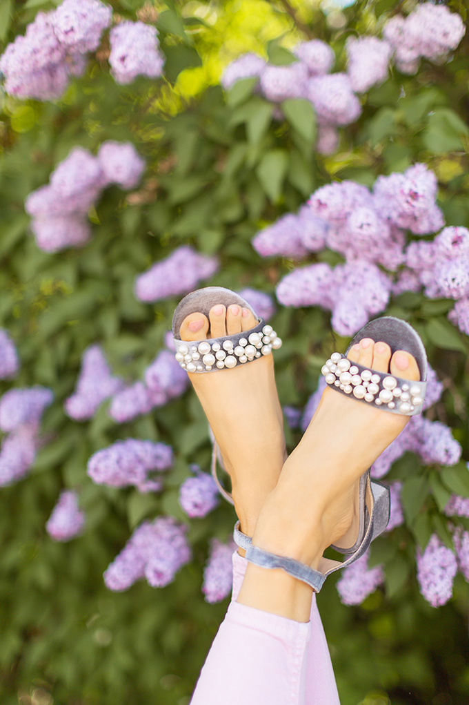 Spring 2018 Trend Guide | Lilac Love | Pearl Strap Sandals with a Low, Block Heel | Calgary, Alberta Fashion Blogger // JustineCelina.com