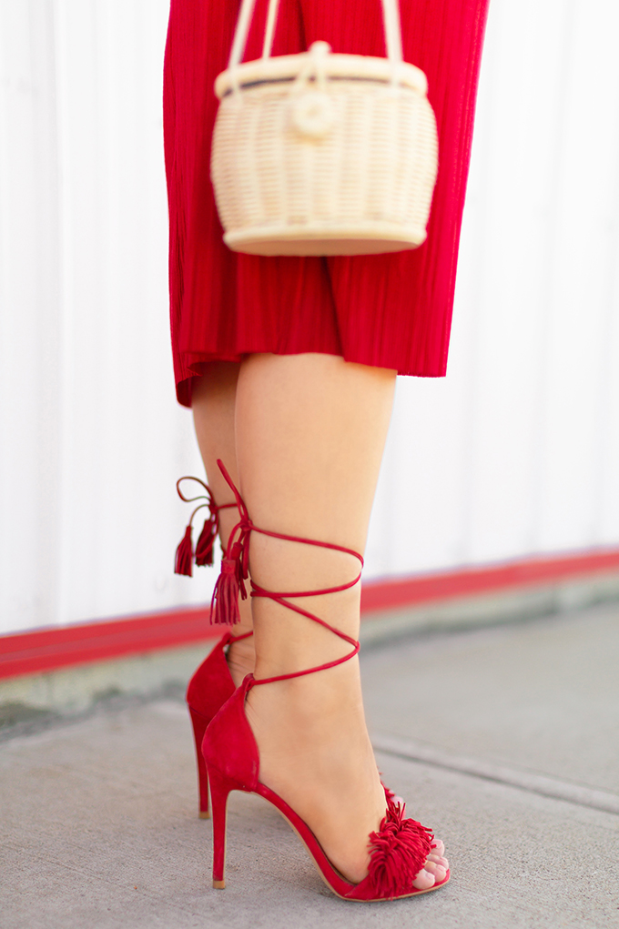 Colour Crush | Red | How to Style Red for Summer 2018 | Red to Toe | Monochromatic Red Outfit | Steve Madden Sassey Sandal in Red // JustineCelina.com
