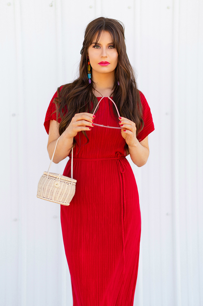Colour Crush | Red | How to Style Red for Summer 2018 | Red to Toe | Monochromatic Red Outfit | CLARINS Water Lip Stain in Red Water // JustineCelina.com