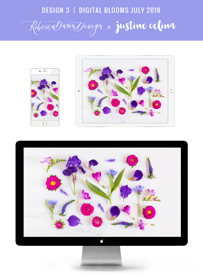 Digital Blooms July 2018 | Free Pantone 2018 Colour of the Year Inspired Desktop Wallpapers for Spring and Summer | Free Bright Summer Floral Wallpapers | Design 3 // JustineCelina.com x Rebecca Dawn Design