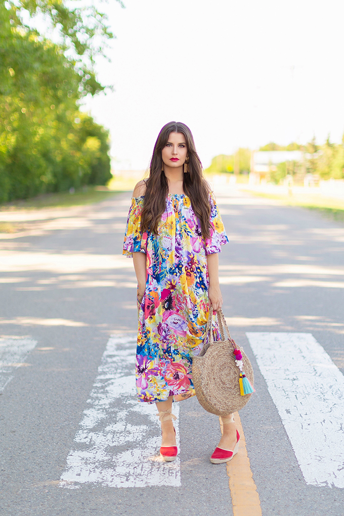 Summer 2018 Trend Guide   Flower Power   Summer 2018 Trends   How to Style Flowy Floral Dresses, Espadrilles and Circular Bags for Summer // JustineCelina.com