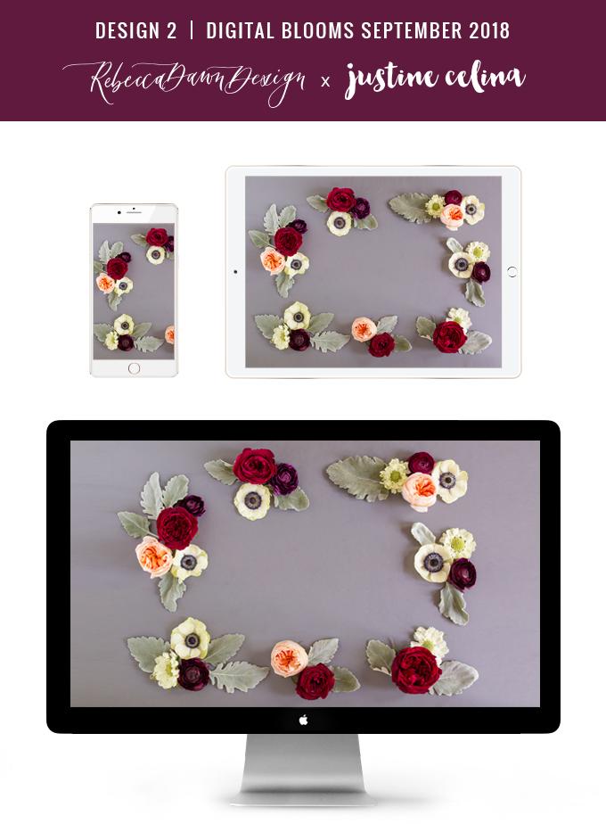 Digital Blooms September 2018 | Free Desktop Wallpapers for Fall with Ranunculus, Garden Roses and Anemones | Flower Border Wallpaper | Pantone Fall / Winter 2018 Free Tech Wallpapers | Design 2 // JustineCelina.com x Rebecca Dawn Design