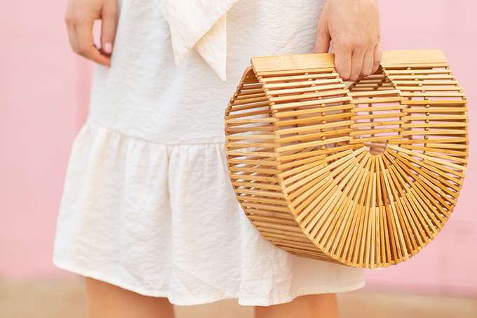 The Accessory Edit | Natural Material Bags | Cult Gaia Ark Large | How to Style Cult Gaia's Ark Bag | The Best Wood Bags 2018 // JustineCelina.com