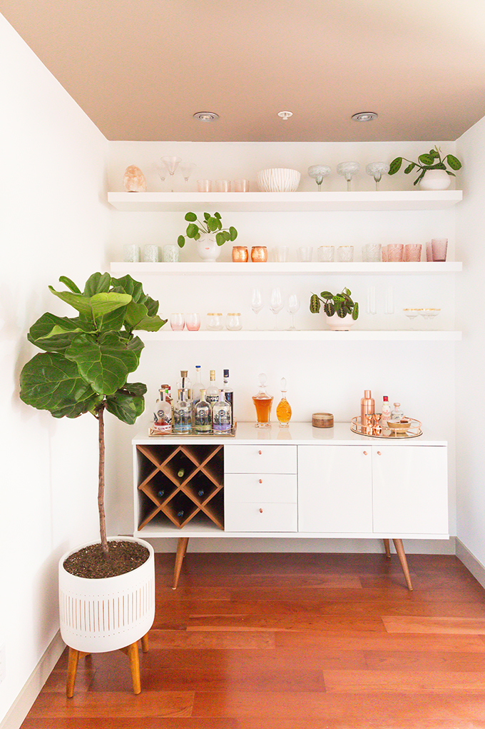 Our Dining Room Bar | A Built-In Look on a Budget | How I created our home bar for less than $1000 | Wayfair All Modern Lemington Wine Rack Sideboard Buffet Table Review | IKEA Lack Shelves to Create a Built in Bar // JustineCelina.com