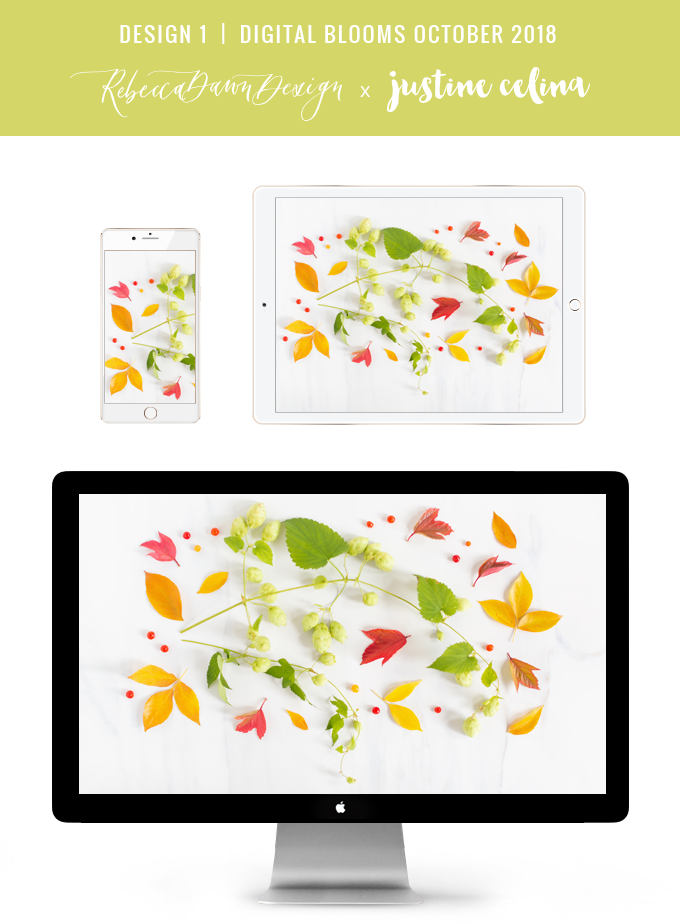 Digital Blooms October 2018 | Free Desktop Wallpapers for Fall with Hops and an array of foraged autumn leaves and berries | Fall Wreath Wallpaper | Pantone Fall / Winter 2018 Free Tech Wallpapers | Design 1 // JustineCelina.com x Rebecca Dawn Design