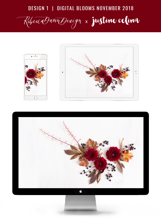 Digital Blooms November 2018 | Free Desktop Wallpapers for Fall with Mums, Thrytptomene and an array of foraged autumn leaves and berries | Pantone Fall / Winter 2018 Free Tech Wallpapers | Design 1 // JustineCelina.com x Rebecca Dawn Design