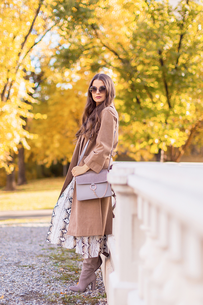 Autumn 2018 Lookbook | Topshop Snakeskin Dress with Slouchy Boots and Vintage Suede Trenchcoat | Grey Chloe Faye Dupe | Autumn 2018 Trends | JustineCelina.com