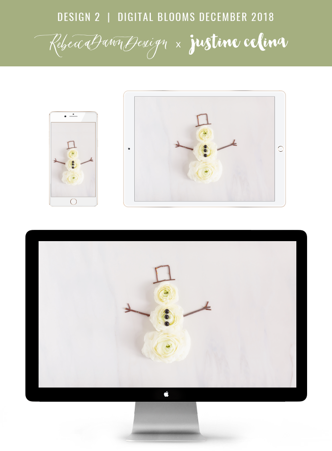 Digital Blooms December 2018 | Free Holiday Floral Desktop Wallpapers | A Whimsical Snowman Made from Flowers, Berries and Twigs | Pantone Fall / Winter 2018 Free Tech Wallpapers | Design 2 // JustineCelina.com x Rebecca Dawn Design