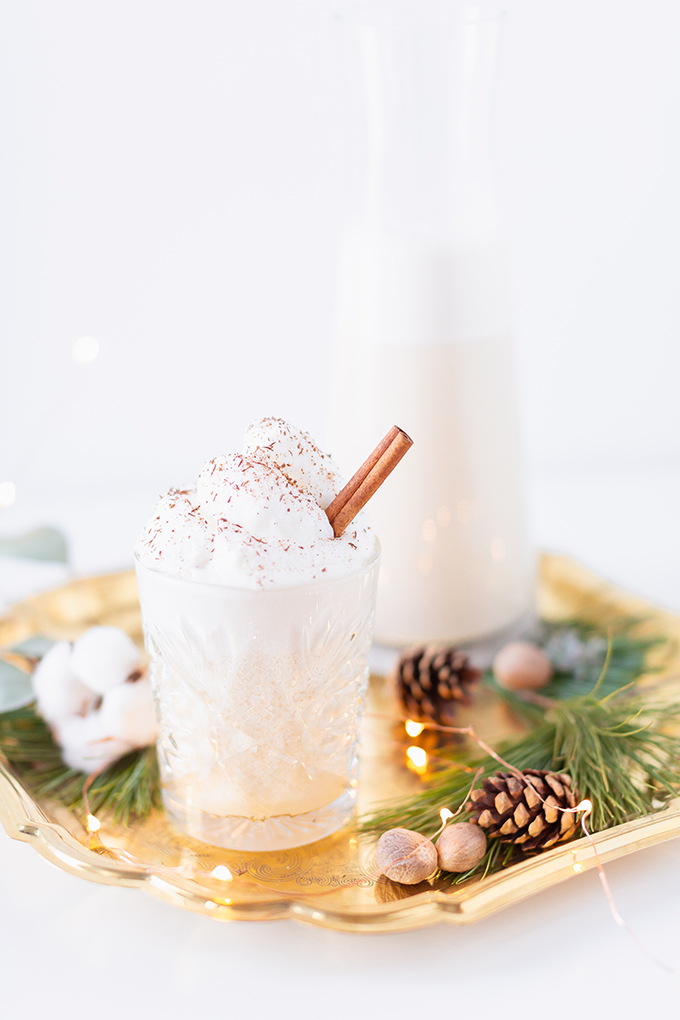 Homemade Dairy Free Coconut Rum Eggnog | The Best Homemade Eggnog Recipe | The Best Rum & Eggnog Recipe | #DairyFree #Vegetarian #GlutenFree #RefinedSugarFree | Healthier Homemade Eggnog Recipe | Clean Homemade Eggnog Recipe | Eau Claire Distillery Gin Rummy Eggnog // JustineCelina.com