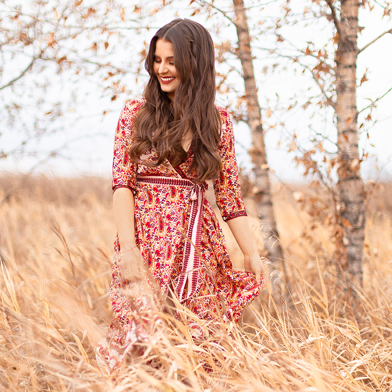 Pattern Play   Paisley   SheIn Paisley Print Wrap Dress   Rust Chloe Pixie Dupe   Autumn / Winter 2018 Trends   The Hottest Prints for Autumn / Winter 2018 and How to Style Them   Alternative Holiday Dress Ideas   Bohemian Holiday Dress Ideas // JustineCelina.com