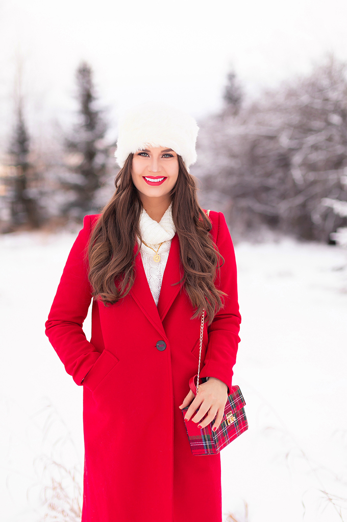 2018 Rewind + 2019 Goals | Calgary Lifestyle Blogger | Festive, Casual Holiday Outfit with a Red Coat | Brunette Girl Smiling in a Red Coat and a Faux Fur Headband | Lancome Matte Shaker in Red-y in 5 // JustineCelina.com