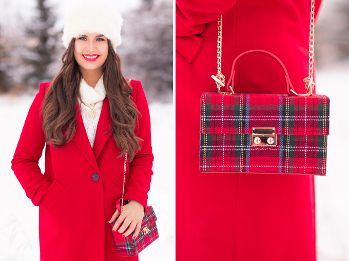 Festive, Casual Holiday Outfit with a Red Coat   Christmas Day Outfit Ideas   Brunette Girl Smiling in a Red Coat and a Faux Fur Headband with Joe Fresh Faux Leather Leggings, Black Suede OTK Boots and a Tartan Box Bag   Lancome Matte Shaker in Red-y in 5 // JustineCelina.com