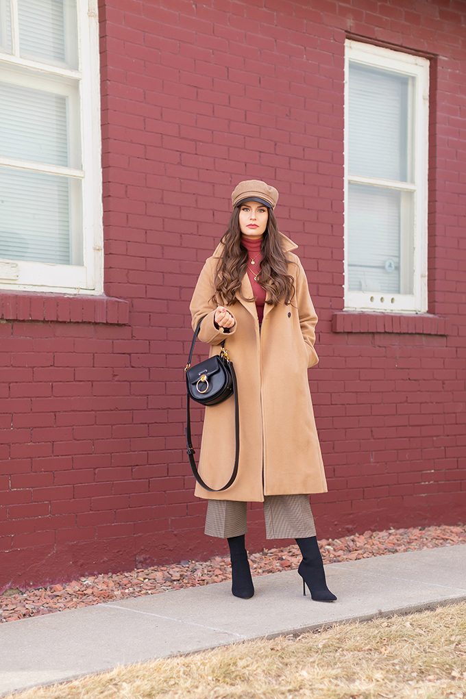 Winter 2019 Lookbook   Cozy Chic: My Go-To Polished Winter Outfit for Cold Weather   Aritzia Babaton Robbie Wool Coat Long styled with a Pantone Living Coral Turtle Neck, a Tweed and Leather TopShop Baker Boy Hat, Checked Culottes, Black Sock Boots, Artisan Anything Lara Leather Crossbody In Black (Amazing Chloe Tess Dupe!) and Layered Gold House of Vi Jewellery   Stylish Winter 2019 Outfit Ideas   Cool Girl Winter Outfit Ideas // Calgary, Alberta, Canada Fashion & Lifestyle Blogger // JustineCelina.com