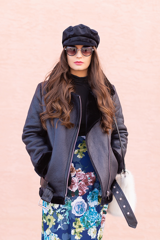Winter 2019 Lookbook   Edgy Florals: How to Style Midi Skirts for Winter   3rd Floor Studio Angie Skirt paired with Blue Maroco Women's Over-the-knee suede boots, a black turtleneck and a longline, lined biker jacket with a black velvet baker boy hat and a white faux fur bag   How to Style a Biker Jacket for Winter // JustineCelina.com