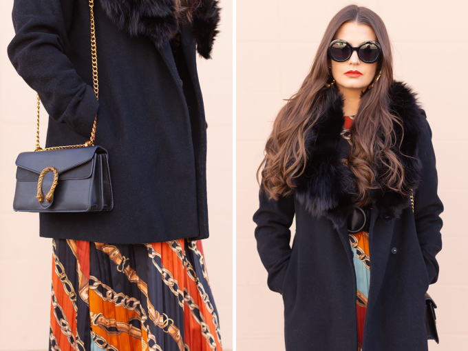 Winter 2019 Lookbook   In Chains: How to Style Midi Dresses for Winter   How to Style Chain Print   Brunette Girl wearing a chain print midi dress, a black wool coat with vintage fox fur collar, satin boots, black oval sunglasses and a black Gucci Dionysus Small Shoulder Bag   Bohemian Winter Style Ideas   Pantone Spring Summer 2019 Fashion Ideas   Winter Evening Outfit Ideas   Calgary, Alberta, Canada Fashion & Lifestyle Blogger // JustineCelina.com