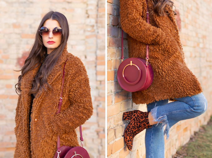 Winter 2019 Lookbook   Teddy Texture: How to Style a Teddy Coat for Mild Winter Weather   Paisie Teddy Coat styled with Kick Flare, Fringe Hem Jeans, Leopard Print TopShop Brooklyn Block Heel Booties and A Burgundy Circular Bag    Stylish Winter 2019 Outfit Ideas   Cool Girl Winter Outfit Ideas // Calgary, Alberta, Canada Fashion & Lifestyle Blogger // JustineCelina.com